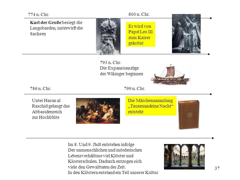 774 n. Chr. 800 n. Chr. Karl der Große besiegt die. Langobarden, unterwirft die. Sachsen. Er wird von.