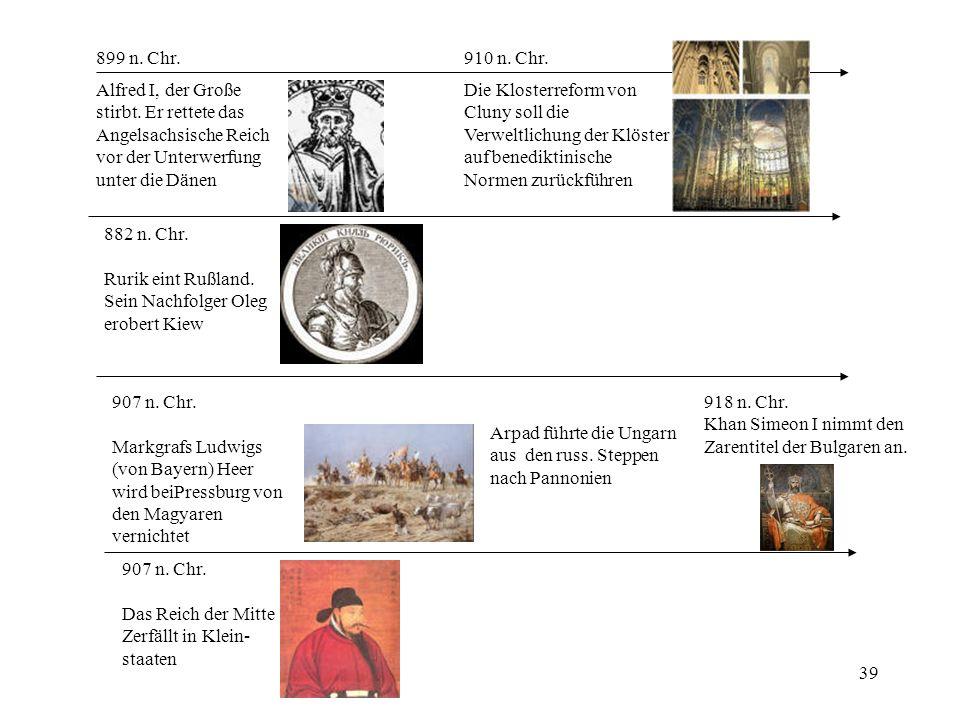 899 n. Chr. 910 n. Chr. Alfred I, der Große. stirbt. Er rettete das. Angelsachsische Reich. vor der Unterwerfung.