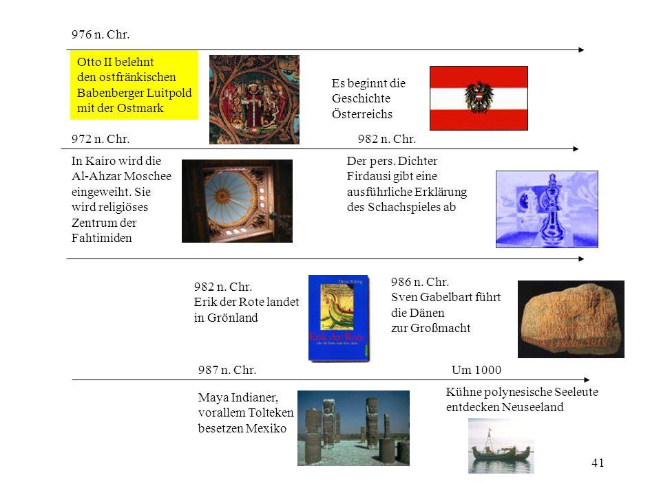 976 n. Chr. Otto II belehnt. den ostfränkischen. Babenberger Luitpold. mit der Ostmark. Es beginnt die.