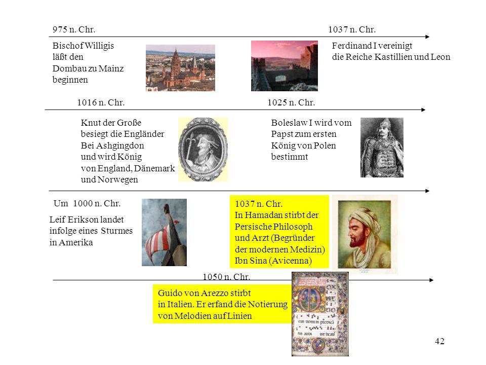 975 n. Chr. 1037 n. Chr. Bischof Willigis. läßt den. Dombau zu Mainz. beginnen. Ferdinand I vereinigt.