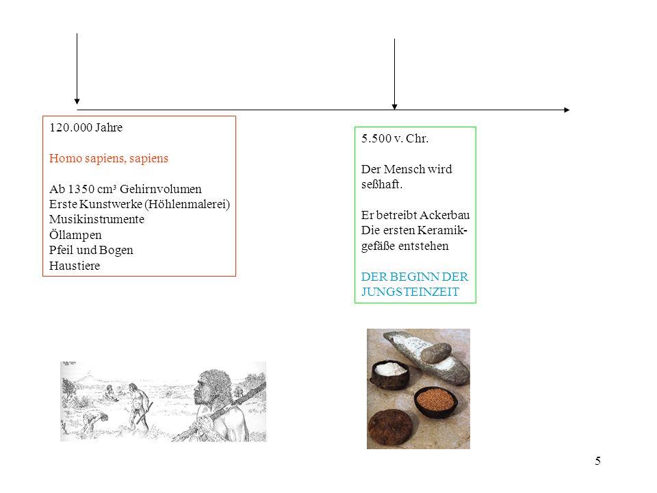 120.000 Jahre Homo sapiens, sapiens. Ab 1350 cm³ Gehirnvolumen. Erste Kunstwerke (Höhlenmalerei) Musikinstrumente.