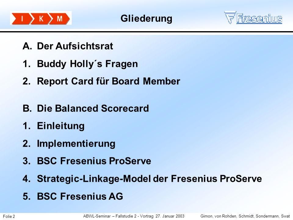 Gliederung A. Der Aufsichtsrat. Buddy Holly´s Fragen. Report Card für Board Member. Die Balanced Scorecard.