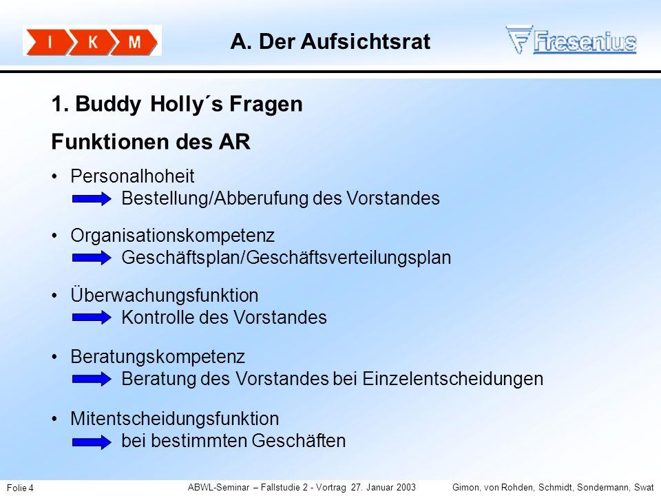 A. Der Aufsichtsrat 1. Buddy Holly´s Fragen Funktionen des AR Jan
