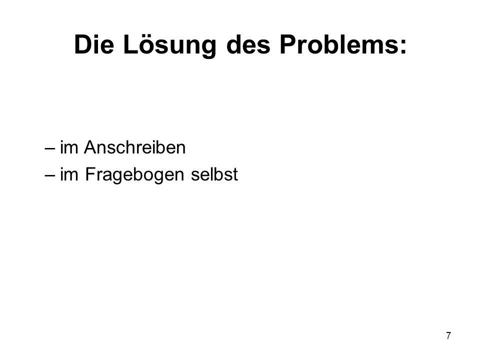 Die Lösung des Problems: