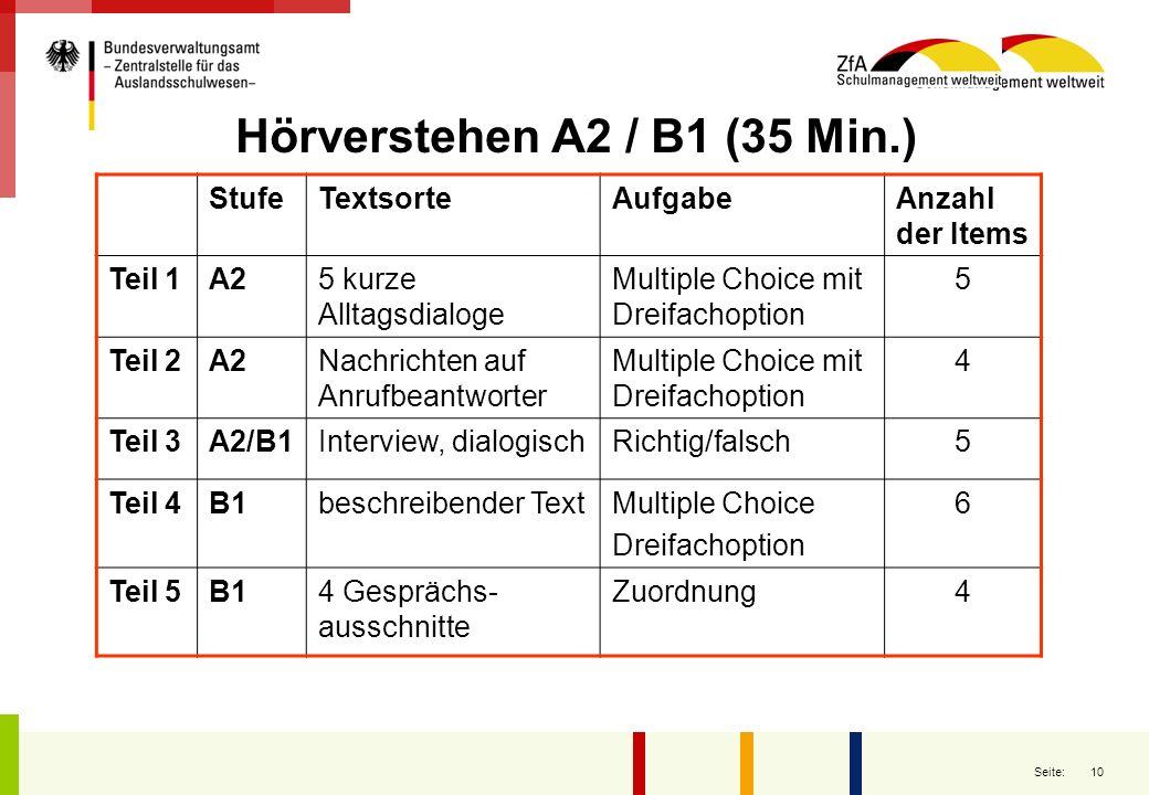 Hörverstehen A2 / B1 (35 Min.)