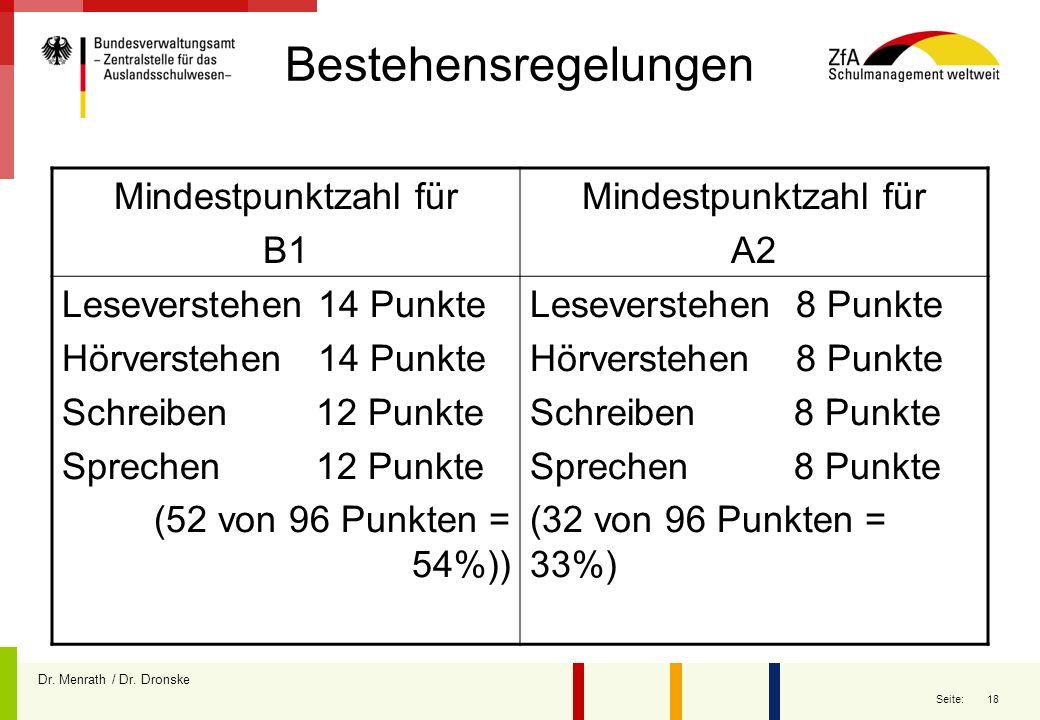 Bestehensregelungen Mindestpunktzahl für B1 A2 Leseverstehen 14 Punkte