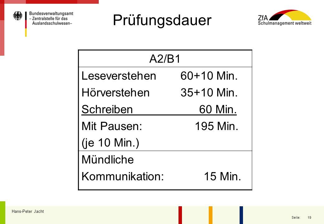 Prüfungsdauer A2/B1 Leseverstehen 60+10 Min. Hörverstehen 35+10 Min.