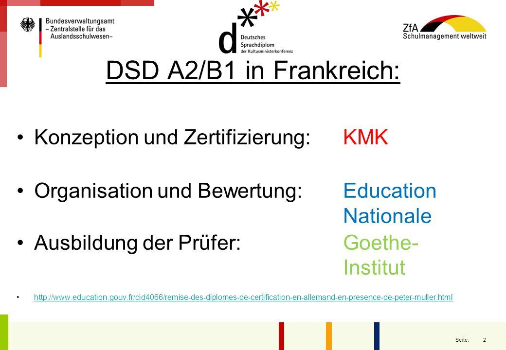 DSD A2/B1 in Frankreich: Konzeption und Zertifizierung: KMK