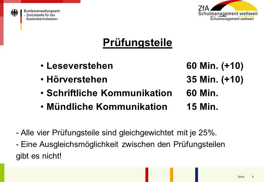 Prüfungsteile Leseverstehen 60 Min. (+10) Hörverstehen 35 Min. (+10)