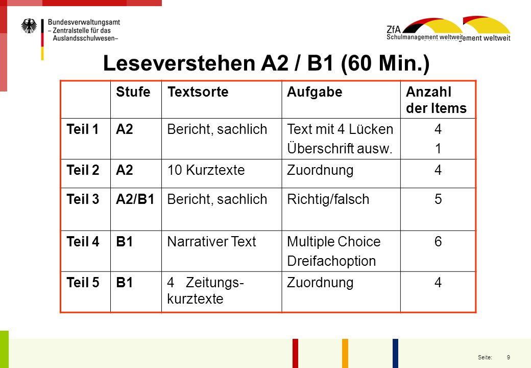 Leseverstehen A2 / B1 (60 Min.)