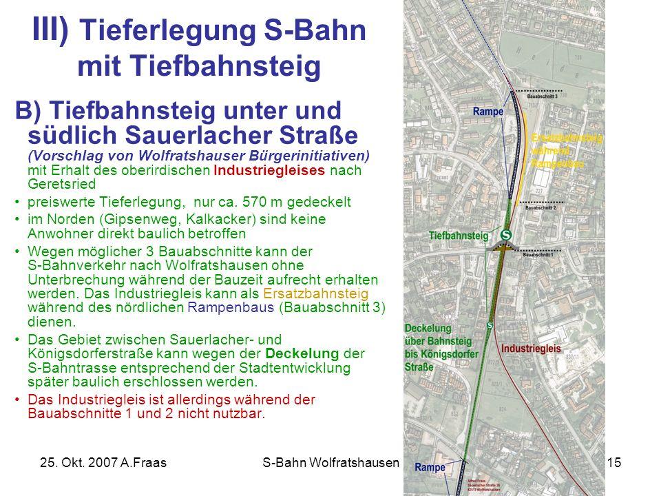 III) Tieferlegung S-Bahn mit Tiefbahnsteig