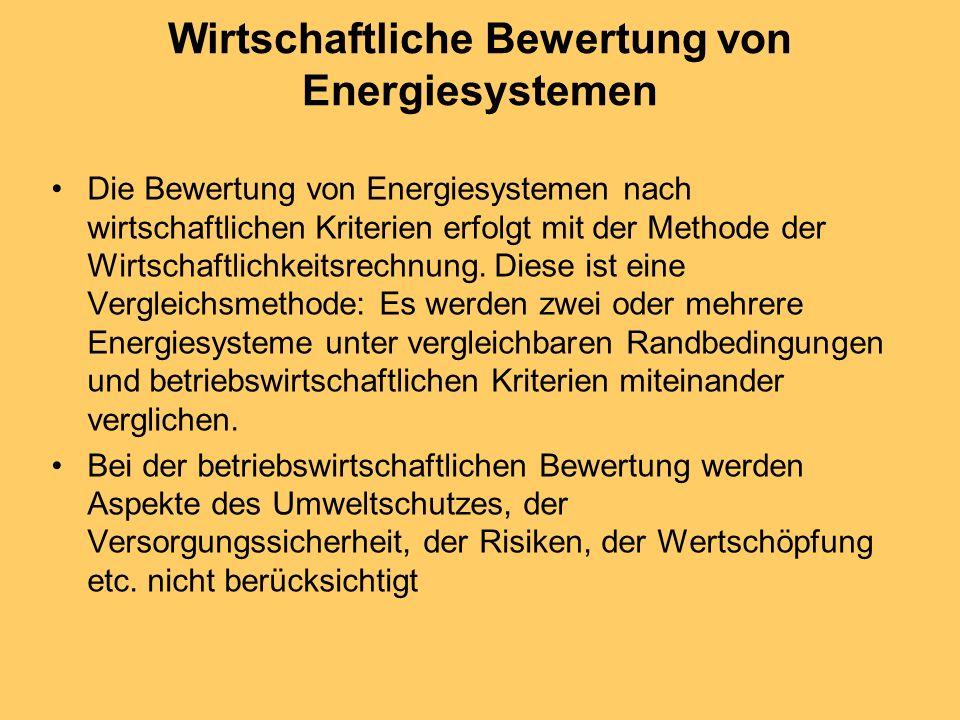 Wirtschaftliche Bewertung von Energiesystemen