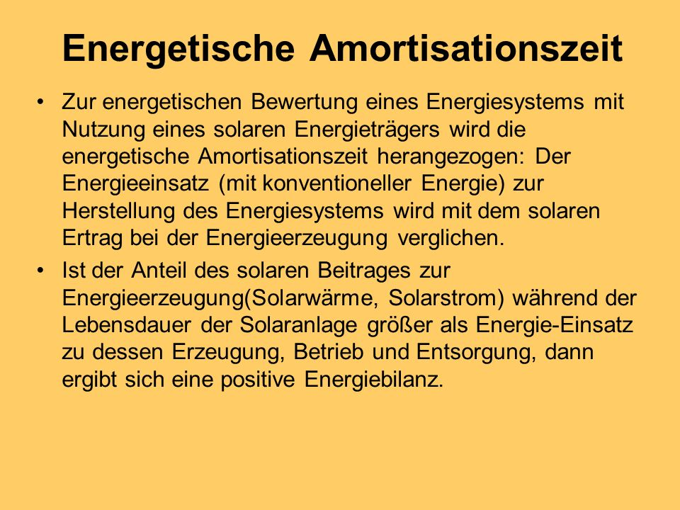 Energetische Amortisationszeit