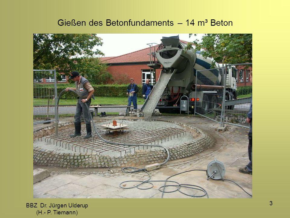 Gießen des Betonfundaments – 14 m³ Beton