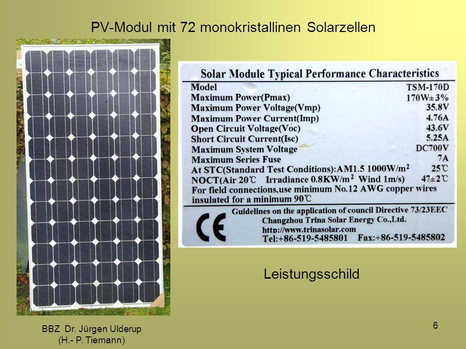 PV-Modul mit 72 monokristallinen Solarzellen