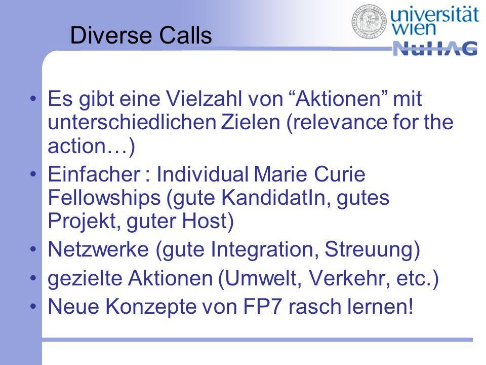 Diverse Calls Es gibt eine Vielzahl von Aktionen mit unterschiedlichen Zielen (relevance for the action…)
