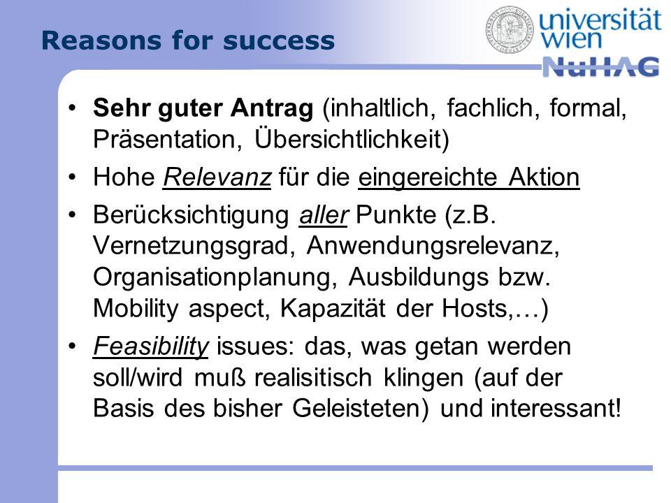 Reasons for success Sehr guter Antrag (inhaltlich, fachlich, formal, Präsentation, Übersichtlichkeit)