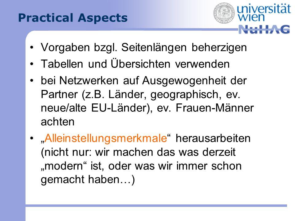 Practical Aspects Vorgaben bzgl. Seitenlängen beherzigen. Tabellen und Übersichten verwenden.