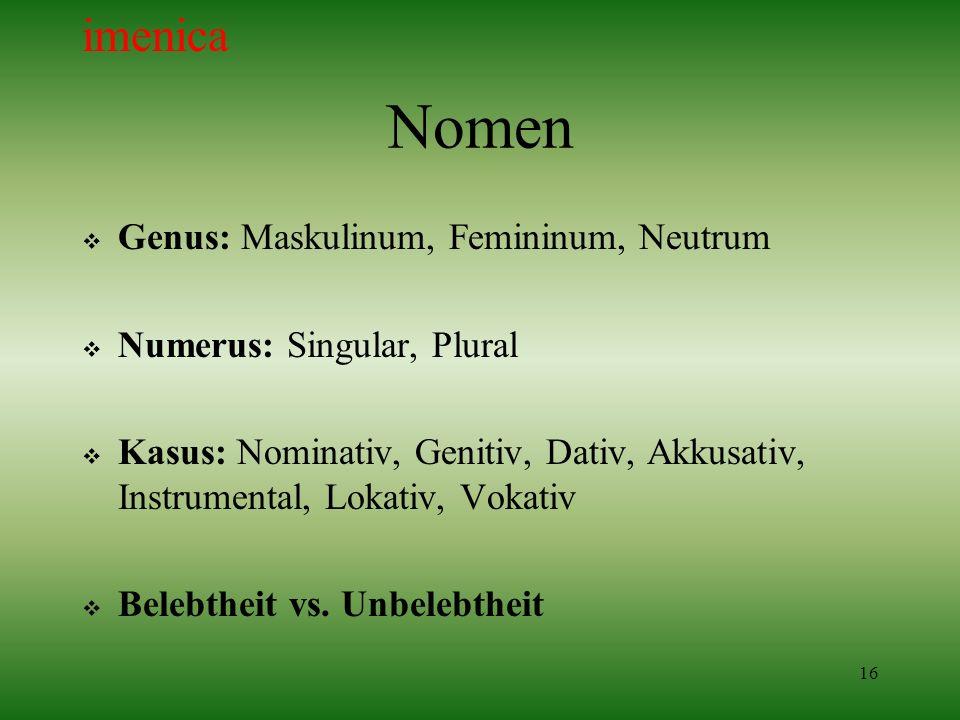 Nomen imenica Genus: Maskulinum, Femininum, Neutrum