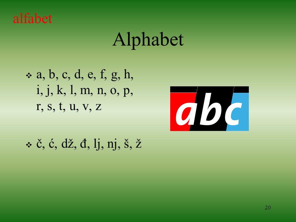 alfabet Alphabet. a, b, c, d, e, f, g, h, i, j, k, l, m, n, o, p, r, s, t, u, v, z.