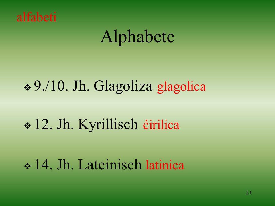 Alphabete 9./10. Jh. Glagoliza glagolica 12. Jh. Kyrillisch ćirilica