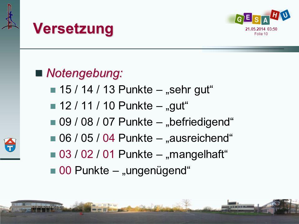 """Versetzung Notengebung: 15 / 14 / 13 Punkte – """"sehr gut"""