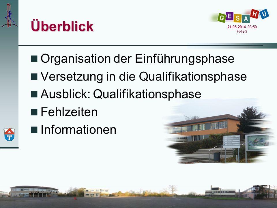 Überblick Organisation der Einführungsphase