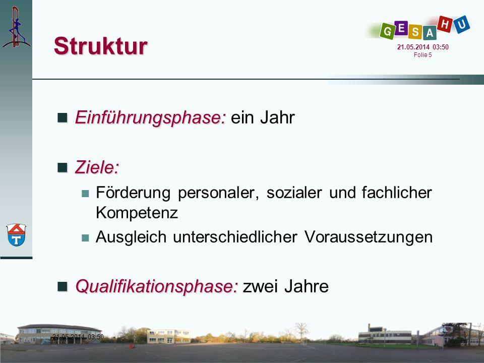 Struktur Einführungsphase: ein Jahr Ziele: