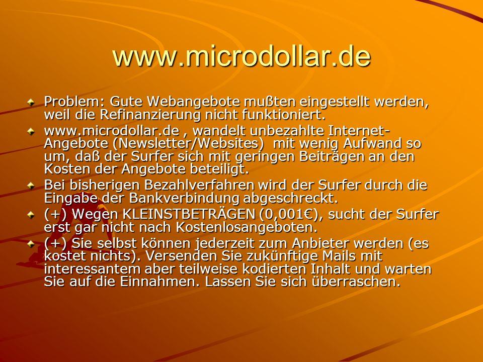 www.microdollar.de Problem: Gute Webangebote mußten eingestellt werden, weil die Refinanzierung nicht funktioniert.