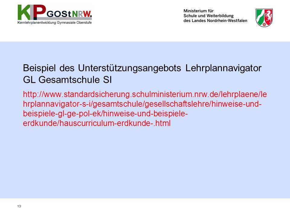 Beispiel des Unterstützungsangebots Lehrplannavigator GL Gesamtschule SI