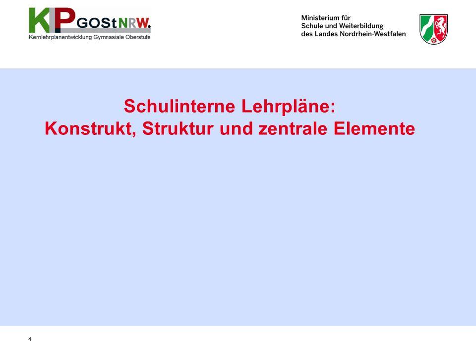 Schulinterne Lehrpläne: Konstrukt, Struktur und zentrale Elemente