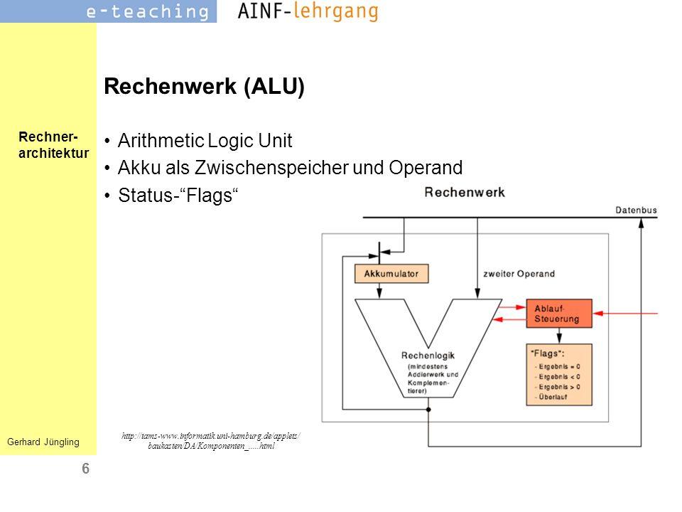 Rechenwerk (ALU) Arithmetic Logic Unit