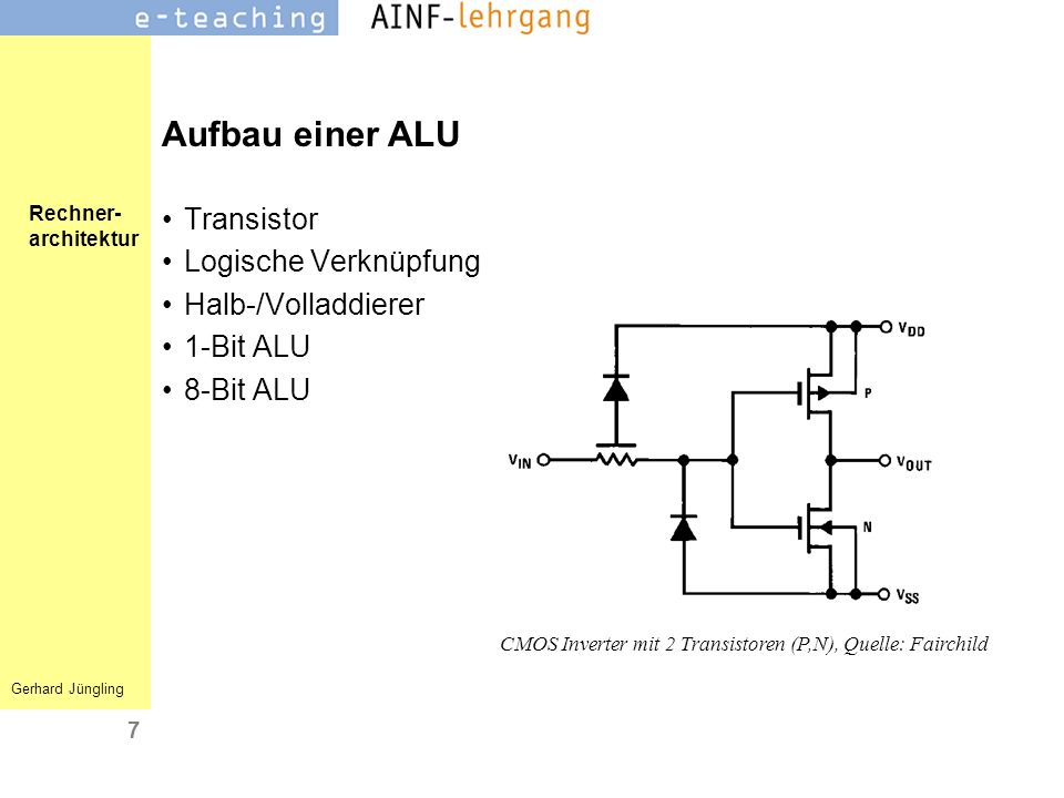CMOS Inverter mit 2 Transistoren (P,N), Quelle: Fairchild