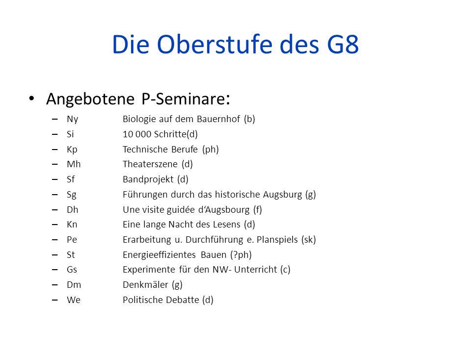 Die Oberstufe des G8 Angebotene P-Seminare: