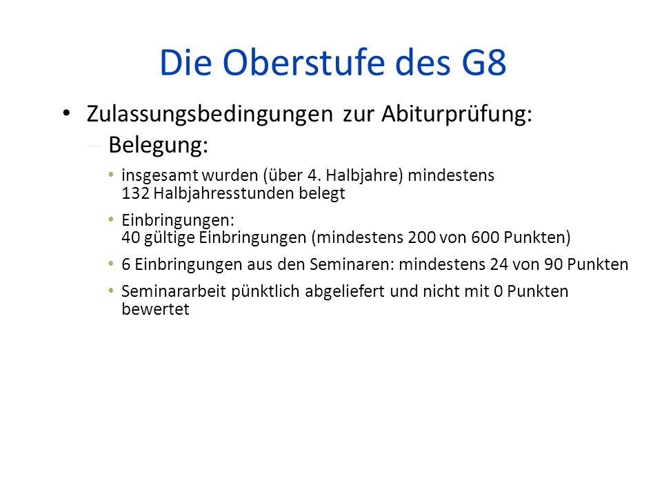 Die Oberstufe des G8 Zulassungsbedingungen zur Abiturprüfung:
