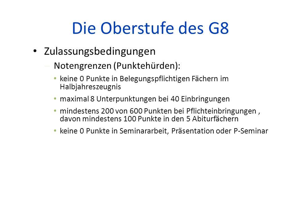 Die Oberstufe des G8 Zulassungsbedingungen