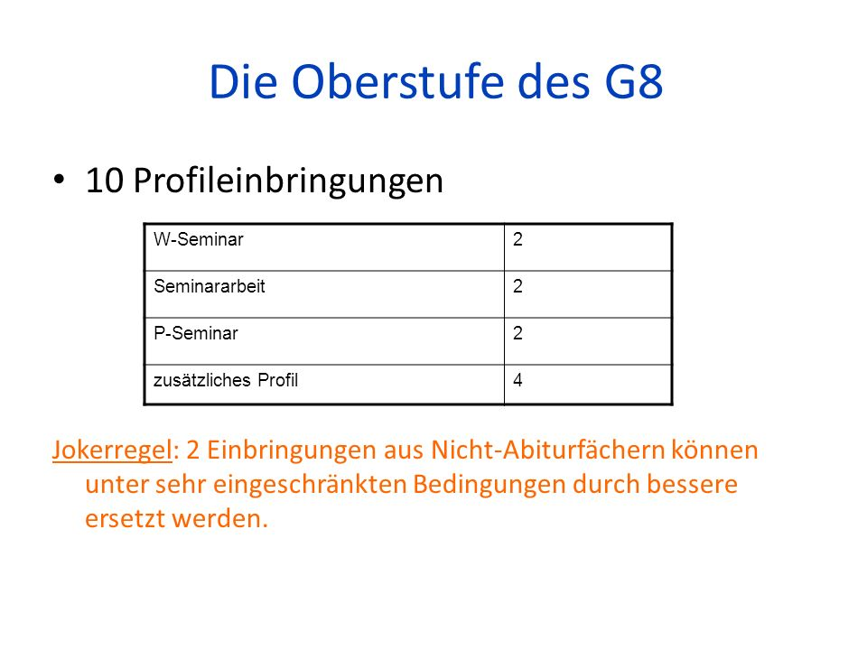 Die Oberstufe des G8 10 Profileinbringungen