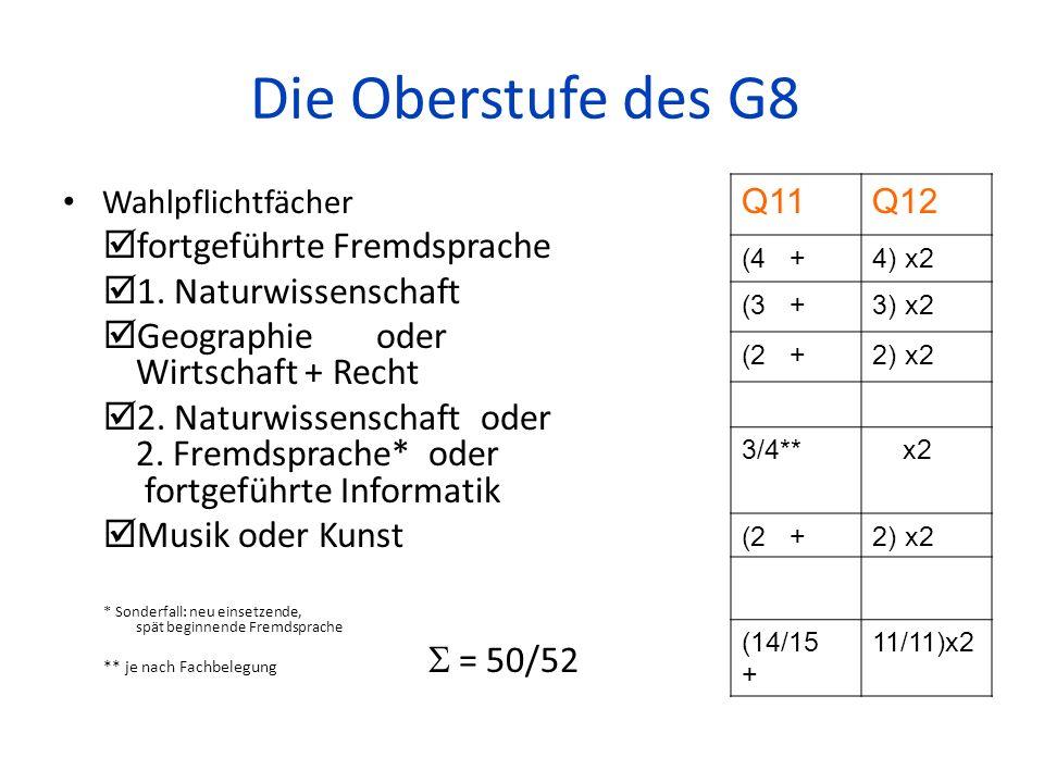 Die Oberstufe des G8 fortgeführte Fremdsprache 1. Naturwissenschaft