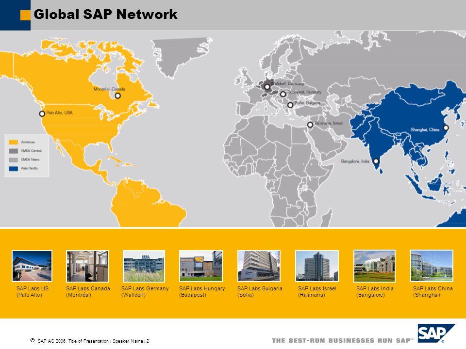 Global SAP Network SAP Labs US (Palo Alto) SAP Labs Canada (Montréal)