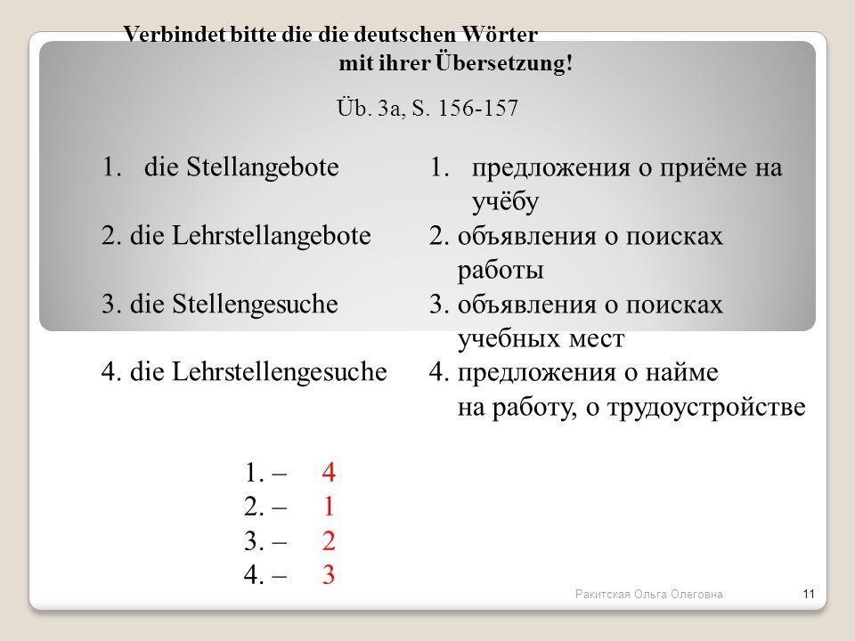 2. die Lehrstellangebote 3. die Stellengesuche