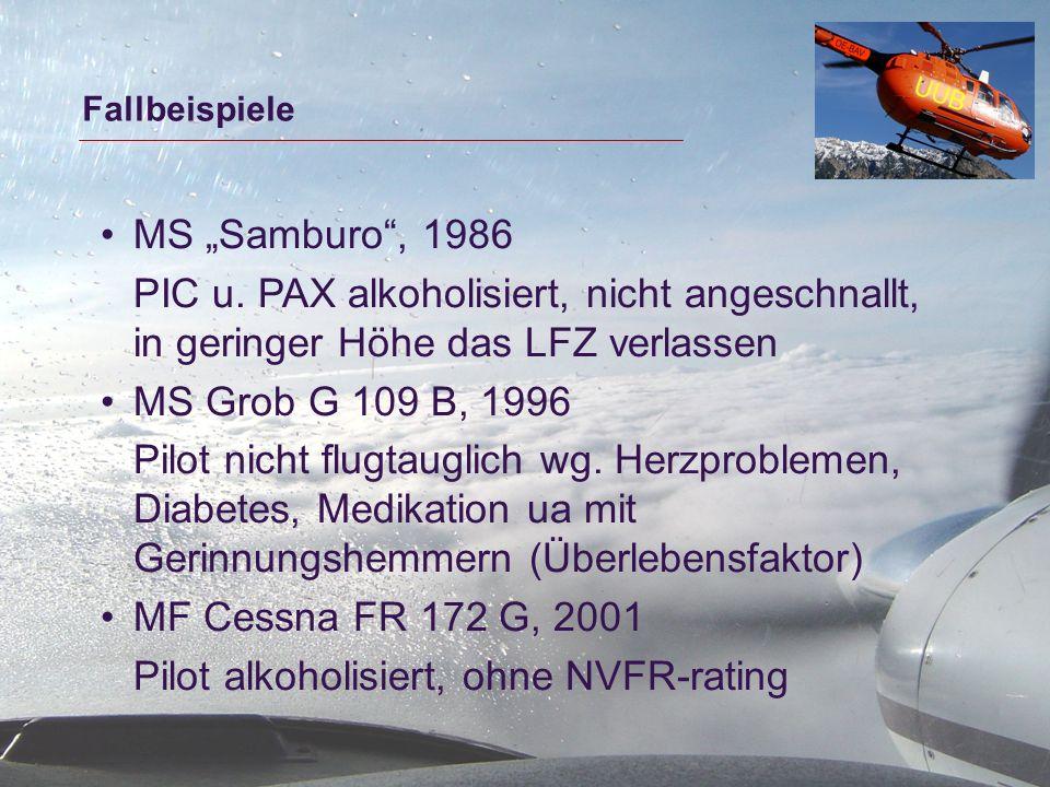 Pilot alkoholisiert, ohne NVFR-rating