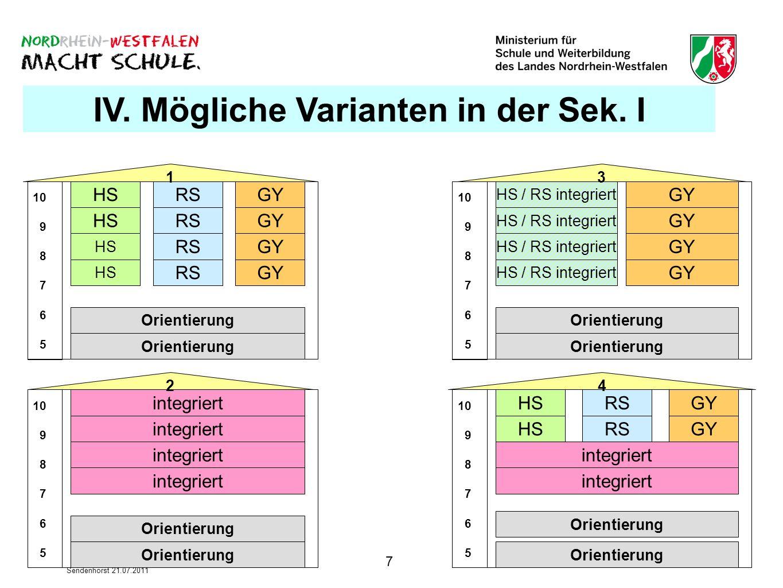 IV. Mögliche Varianten in der Sek. I