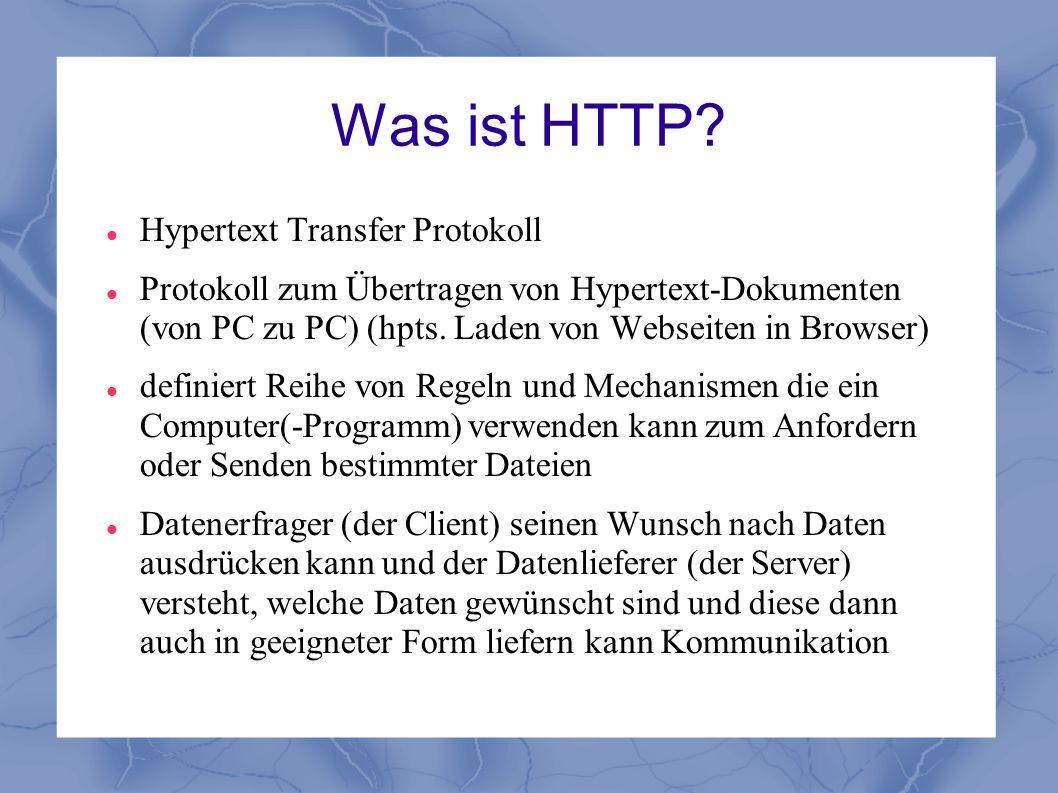 Was ist HTTP Hypertext Transfer Protokoll