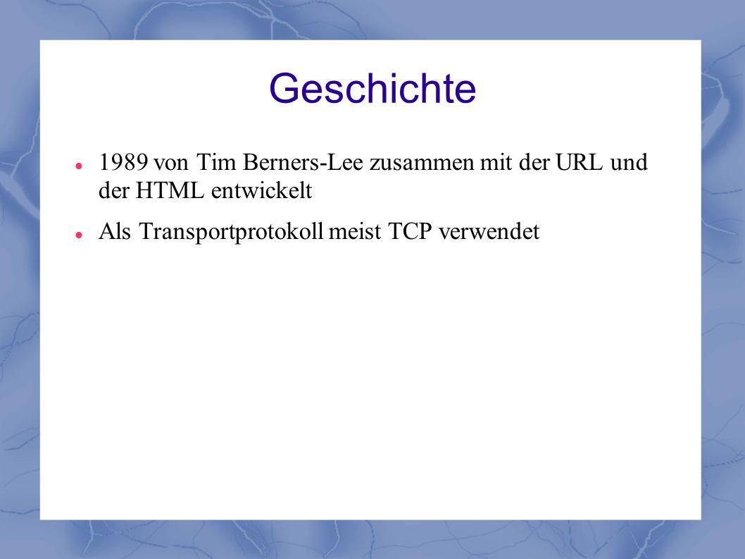 Geschichte 1989 von Tim Berners-Lee zusammen mit der URL und der HTML entwickelt.