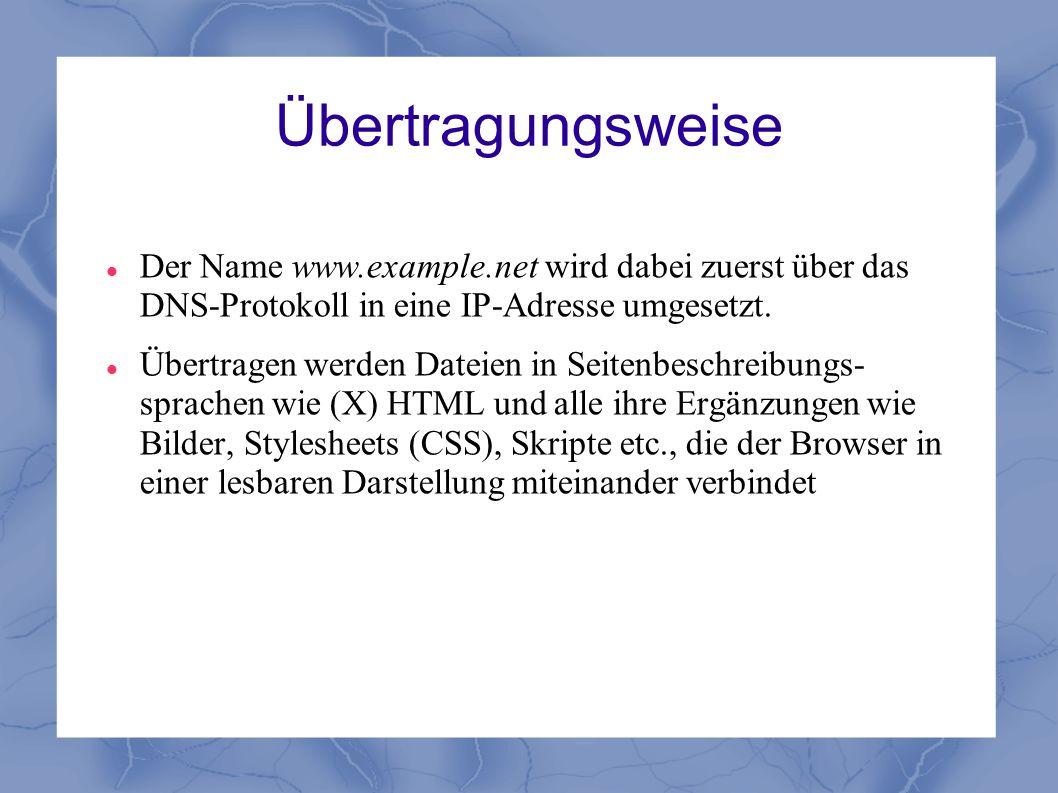 Übertragungsweise Der Name www.example.net wird dabei zuerst über das DNS-Protokoll in eine IP-Adresse umgesetzt.