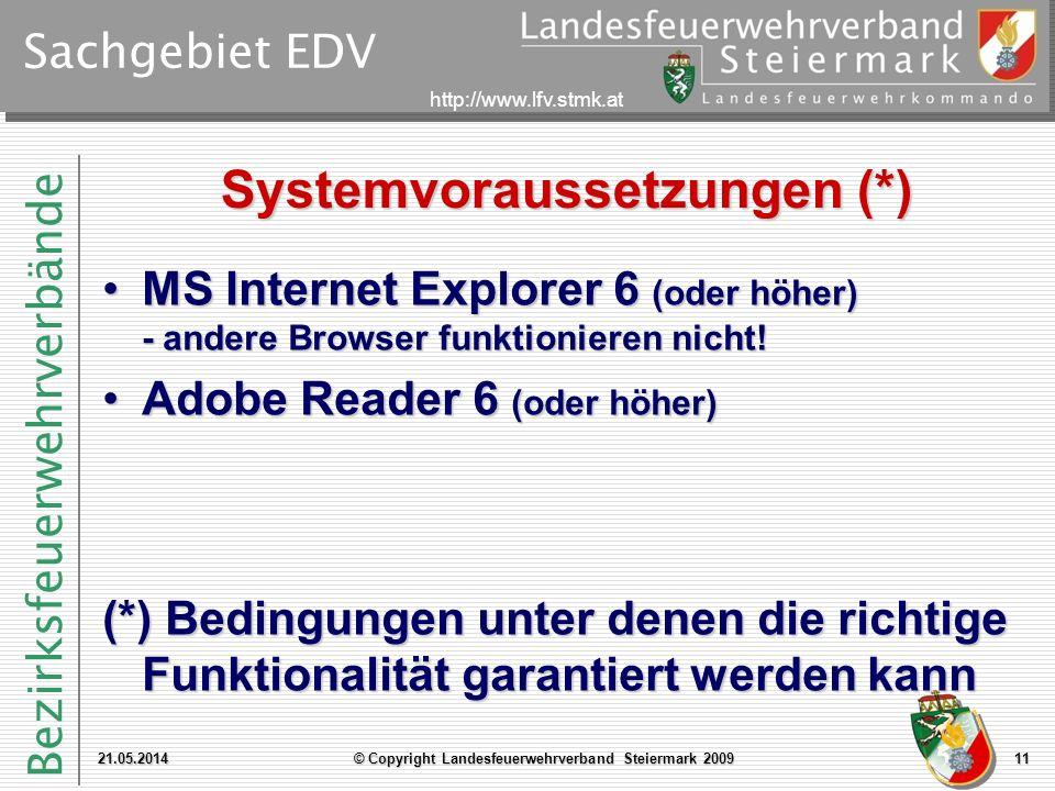 Systemvoraussetzungen (*)