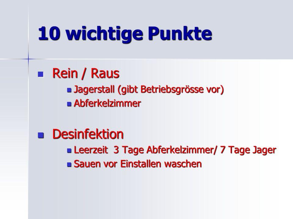 10 wichtige Punkte Rein / Raus Desinfektion