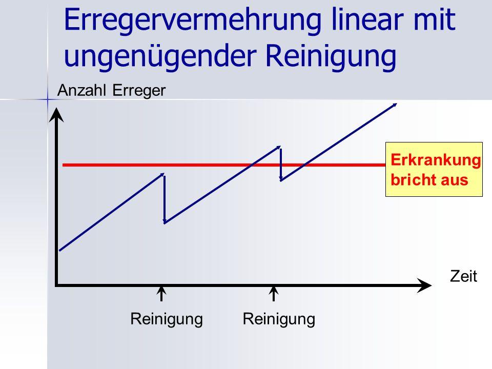 Erregervermehrung linear mit ungenügender Reinigung