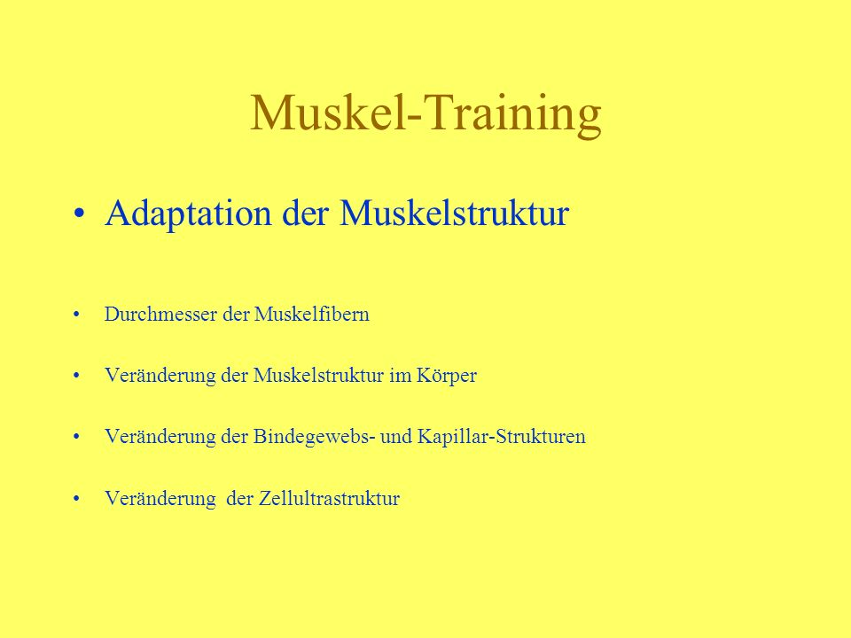 Muskel-Training Adaptation der Muskelstruktur