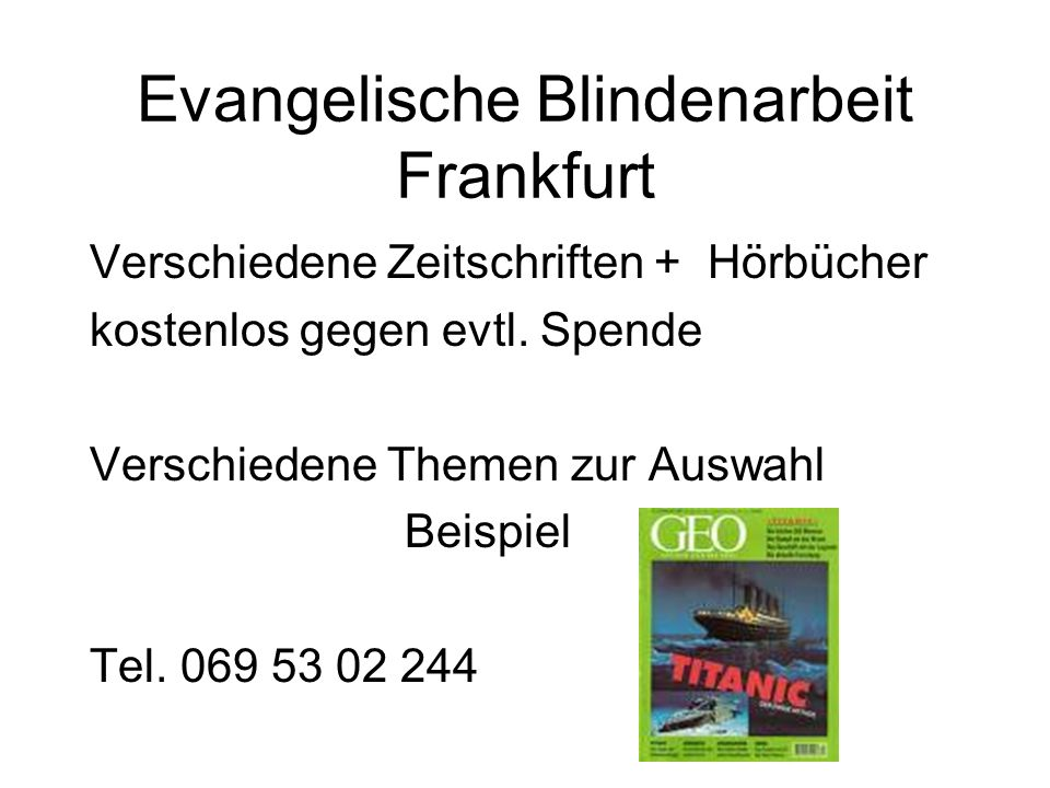 Evangelische Blindenarbeit Frankfurt